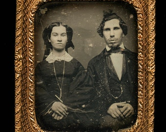 RESERVED Do Not Buy // 1850s Daguerreotype of Man & Wife - Odd Looking Man with Funny Hair - * Sealed *