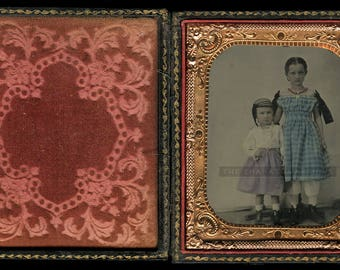 Beautiful Tinted 1/6 Ambrotype of Siblings, Early-1860s