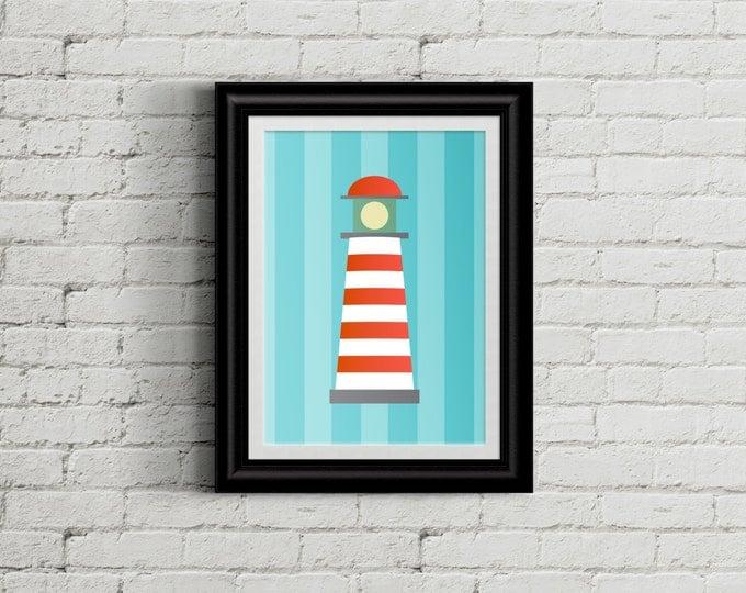 Nautical Themed Kid's Bedroom Wall Art - Lighthouse -Boys Room Decor - Girls Room Decor - Nursery Decor