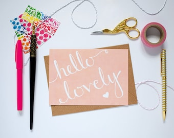 Hello Lovely Notecard. Blush Notecard. Cute Pink Greeting Card. Hand Lettered Note Card.