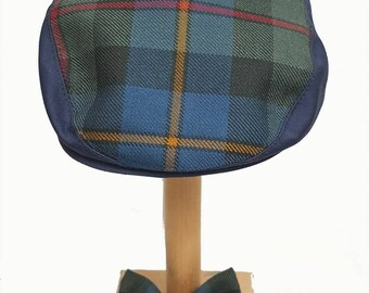 Toddler baby boy flat cap hat in blue plaid tartan with matching bow tie fit  approx 6 - 12 months