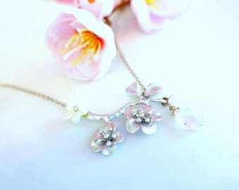 Silver cherry blossom necklace with pearl flower and crystal quartz tear drop briolette, Silver sakura necklace