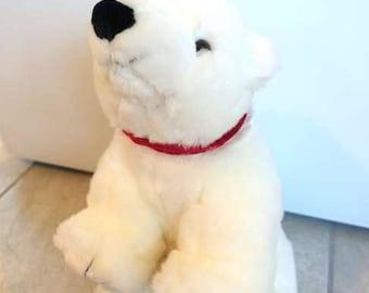 Vintage White Polar Bear Plush Toy, Glacier Polar Bear Stuffed Animal