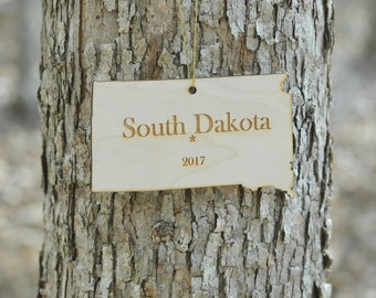 Natural Wood South Dakota State Ornament WITH 2017