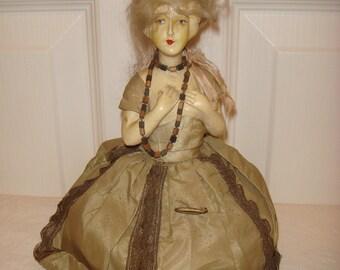 Antique Pincushion Doll Marked KG 1925, 20s Art Deco Flapper Half Doll Pin Cushion,  1920s Chalkware Boudoir Half Doll, Vanity Dresser Doll