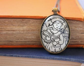 Betsy Tacy book pendant - gift for teacher or librarian - literary necklace - creative book club gift idea - book page jewelry