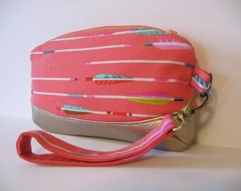 Boho Pink Arrow Print Cotton and Gold Metallic Zipper Clutch Wristlet Bag