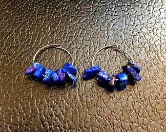 Lapis Gemstone Hoop Earrings