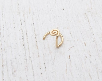 20 Gauge Nose Stud / 14/20 Gold Filled Nose Ring / Spiral Piercing / Nose Jewelry / Spiral Nose Screw / Yellow or Rose Gold Filled / 105269