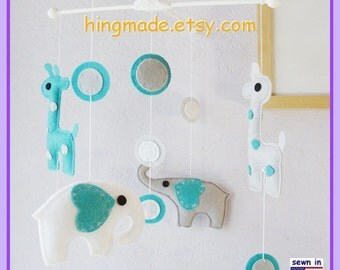 Baby Crib Mobile, Elephant Mobile, Giraffe Mobile, Modern Mobile, Polka Dot Emerald Mid Gray theme, Custom Mobile