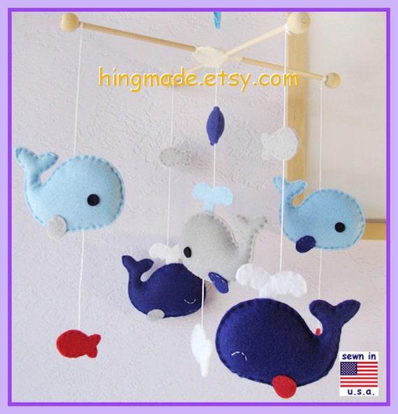 Baby Mobile, Nursery Mobile, Whale Mobile, Cot Mobile, Jackson Nursery Bedding - Royal Blue Gray Red