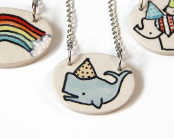 Whale Necklace Handmade Ceramic Pendant on 16 inch Chain Party Whale Illustration Cute Jewelry Gifts under 20 Colorful Necklace Mother's Day