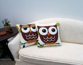 Hoot Owl Pillow - assorted styles - dollhouse miniature