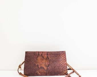 vintage brown leather snakeskin cross body satchel purse bag
