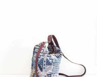 woven embroidered blue aztec backpack - southwest tribal fabric travel bag with leather trim