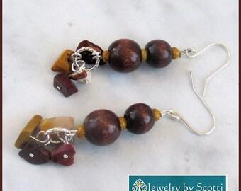 Brown Wood Gemstone Dangle Earrings with Sterling Silver Hooks, Gemstone Earrings, Brown Wood Jewelry, Jasper Earrings, Funky Jewelry