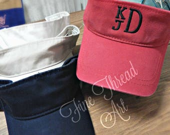 KIDS Monogram Visor Baseball Cap Hat for Girls Boys Youth Size Name Initials Red Navy White Stone Velcro Back