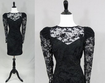80s Black Lace Party Dress - Sheer Neckline and Sleeves - Formal Dress - Vintage 1980s - S
