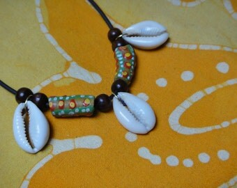Tribal Cowrie Shell African Beaded Collar Necklace -  Afrocentric Jewelry Cowry Gifts for Him and Her