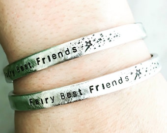 Fairy Best Friend - Fairy Dust Wand - gift box included- Custom Hand Stamped Bracelet - Personalized Bracelet Cuff - Personalized Bracelet