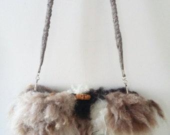 "felted icelandic crossbody bag fur purse clutch ""sheepskin"" sheep skin fleece"