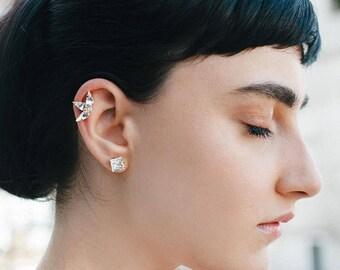 Helix Earrings, Bridal Helix Earring, Crystal Helix Earring, Gold Ear Cuff, Cartilage Earring, Swarovski Ear Climber Earring, Cartilage Stud