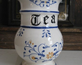 Heritage Tea Caddy Canister Container Jar French Country Style English Estate