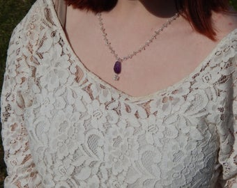 Quartz Crystal Chip Beaded Chain Sterling Silver Necklace with Amethyst and Quartz Pendant, OOAK, One of a Kind, February Birthstone