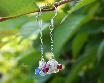 Rainbow Swarovski Crystal Cluster Earrings with Delicate Sterling Silver Chain, Sterling Silver Earrings, LGBTQ Pride, One of a Kind, OOAK
