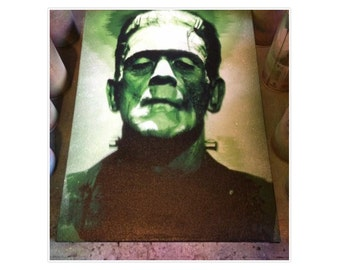 Frankenstein's monster classic horror movies spray paint on canvas