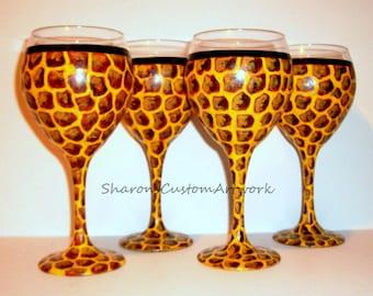 Animal Print Leopard Tiger Zebra or Giraffe Set - 4 /20 oz Hand Painted Wine Goblets Mix & Match Painted Wine Glasses Jungle Print