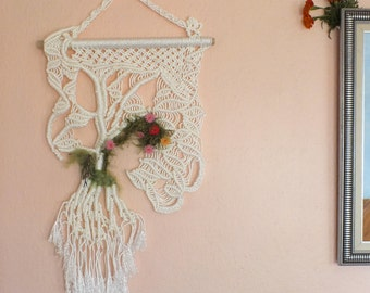 Whide Color Makrame Wall Hanging, Decor, Rope Art, Turkish needle lace