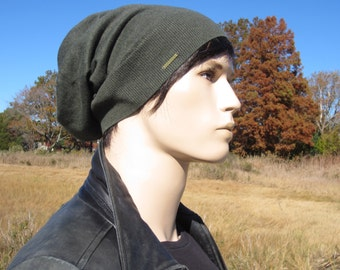 Men's Plain Knit Hat Slouchy Beanie, Cashmere Torque in Moss Green A49