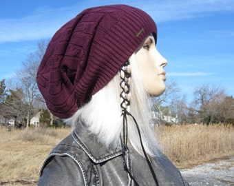 Burgundy Tam Cable Knit Slouchy Beanie Warm Winter Women's Hats  A1228 -2