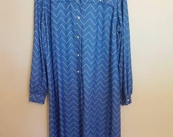 Vintage 1980's blue with white zig zag print long sleeved secretary dress