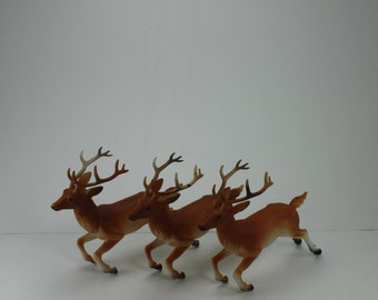 Vintage Plastic Deer Reindeer Figurines Flying Buck Santa's Reindeer Christmas Holiday Kitsch Decor Rustic Woodland Mid Century Retro