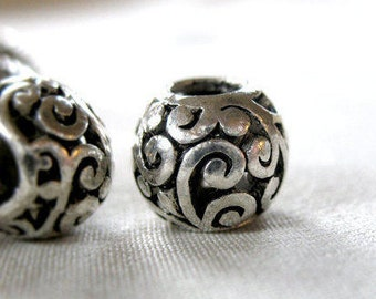 12 Silver scroll pattern with Black Antiquing large hole beads, 11mm wide x 9mm, hole diameter 5mm, package of 12