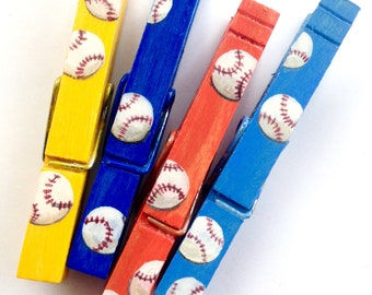 BASEBALLS hand painted magnetic clothespin set blue orange yellow party favor