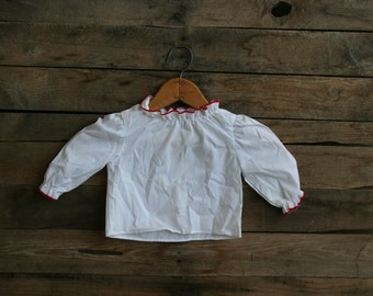 SUPER SALE - Vintage White Long Sleeve Shirt with Red Trim by Handstands