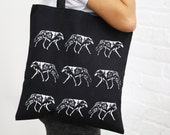 BAJUES Double Sided Screen Printed Wolfs Tote Bag