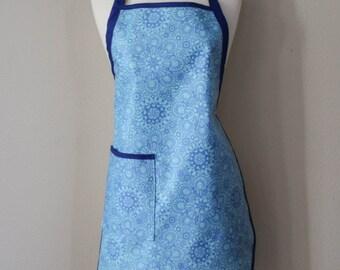 Waterproof Womens Apron Plus Size Apron in Blue on Blue Flowers