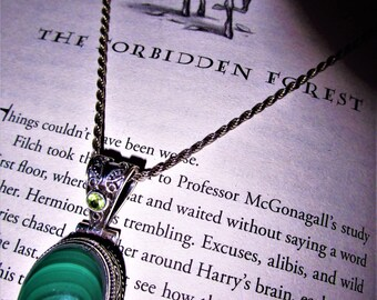 The Forbidden Forest - Malachite & Olivine Pendant - Power, protection, peace, business success, Earth Magic, Forest Magic, Balance, Luck