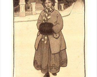 Jessie Willcox Smith - American illustrator - Young Girl with a Muff - Print of Jessie Wilcox Smith illustration -