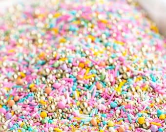 LUXURY SWEET Twinkle Sprinkle Medley, Pastel and Gold, Pastel Sprinkles, Gold, Sprinkle Mix