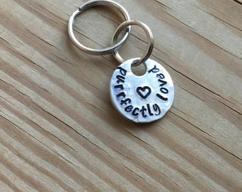 """Cat Pet ID Tag, Collar Charm - """"purrfectly loved"""" with stamped heart"""