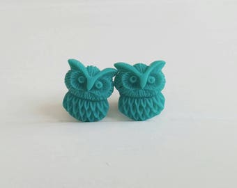 Turquoise Owl Plugs for Gauged Ears Sizes 00g, 0G, 2G, 4G , 6G, 4mm, 5mm, 6mm, 8mm, 10mm, Also Available for Pierced Ears