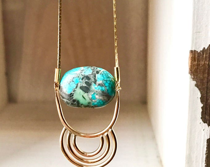 P a s s a g e : Geometric Half Circle // Ring // Arch // Inca // Turquoise // Brass Boho Pendant