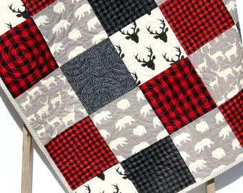 Buffalo Plaid Quilt Elk Deer Bear Baby Blanket Toddler Bedding Woodland Animals Modern Lumberjack Plaid Check Red Black Gray Nursery Blanket
