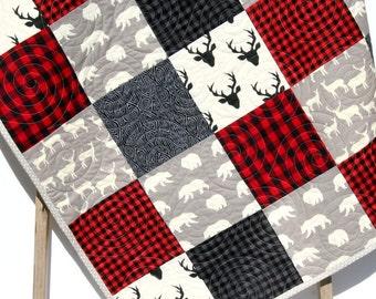 Buffalo Plaid Quilt Elk Deer Bear Baby Blanket Toddler Bedding Woodland Animals Modern Lumberjack Plaid Check Red Black Gray Nursery Blanket