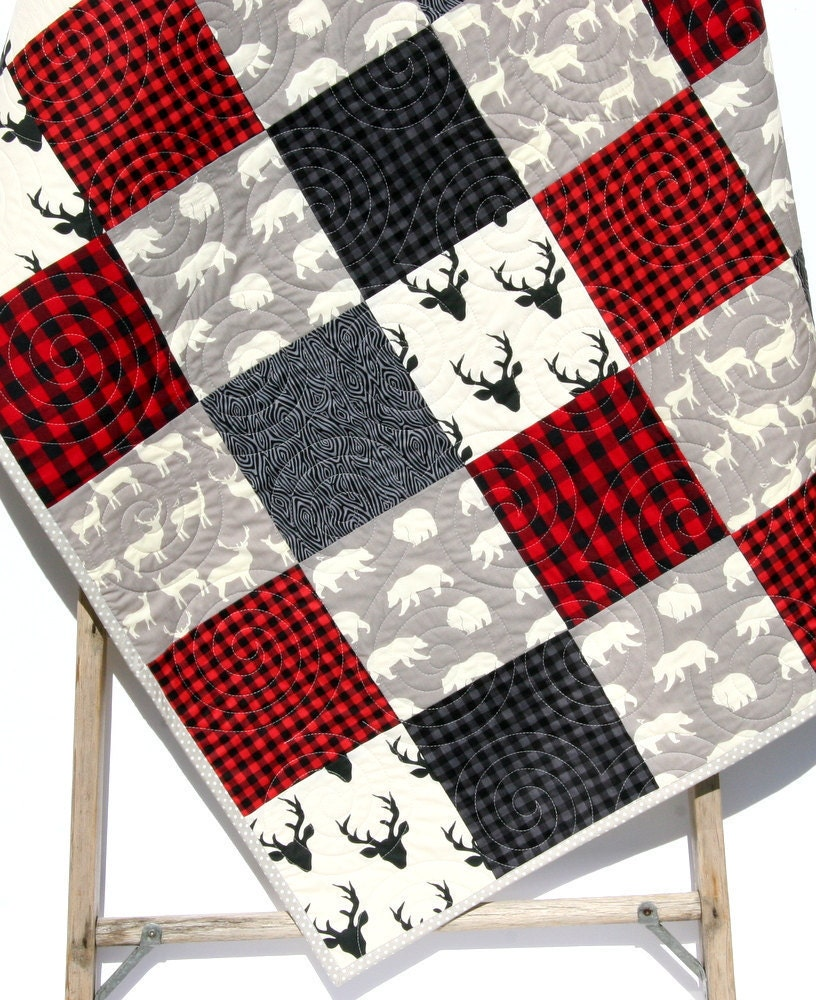 Plaid Baby Quilt: Buffalo Plaid Quilt Elk Deer Bear Baby Blanket Toddler Bedding